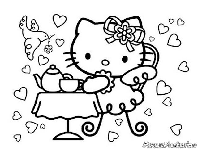 Hello Kitty Meminum Teh Seorang Diri