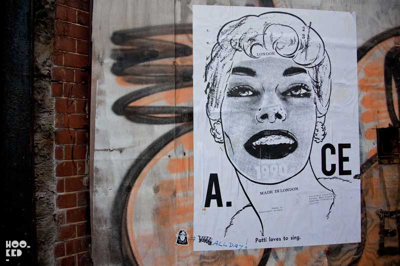 Shoreditch street art paste-ups by artist A.ce London