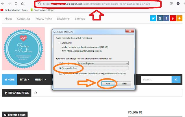 """Jadi misalkan nama domainnya adalah """"tikosewad.blogspot.com"""" anda ubah jadi """"tikosewad.blogspot.com/atom.xml?redirect=false&start-index=1&max-results=500"""". maka akan tampil seperti gambar dibawah ini:"""