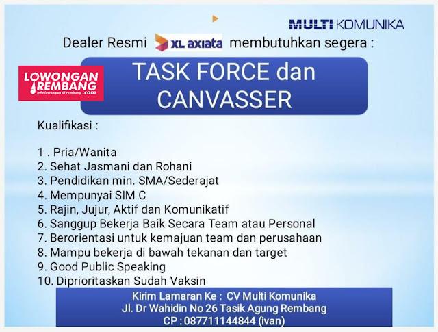 Lowongan Kerja Task Force dan Canvasser XL Axiata CV Multi Komunika Rembang