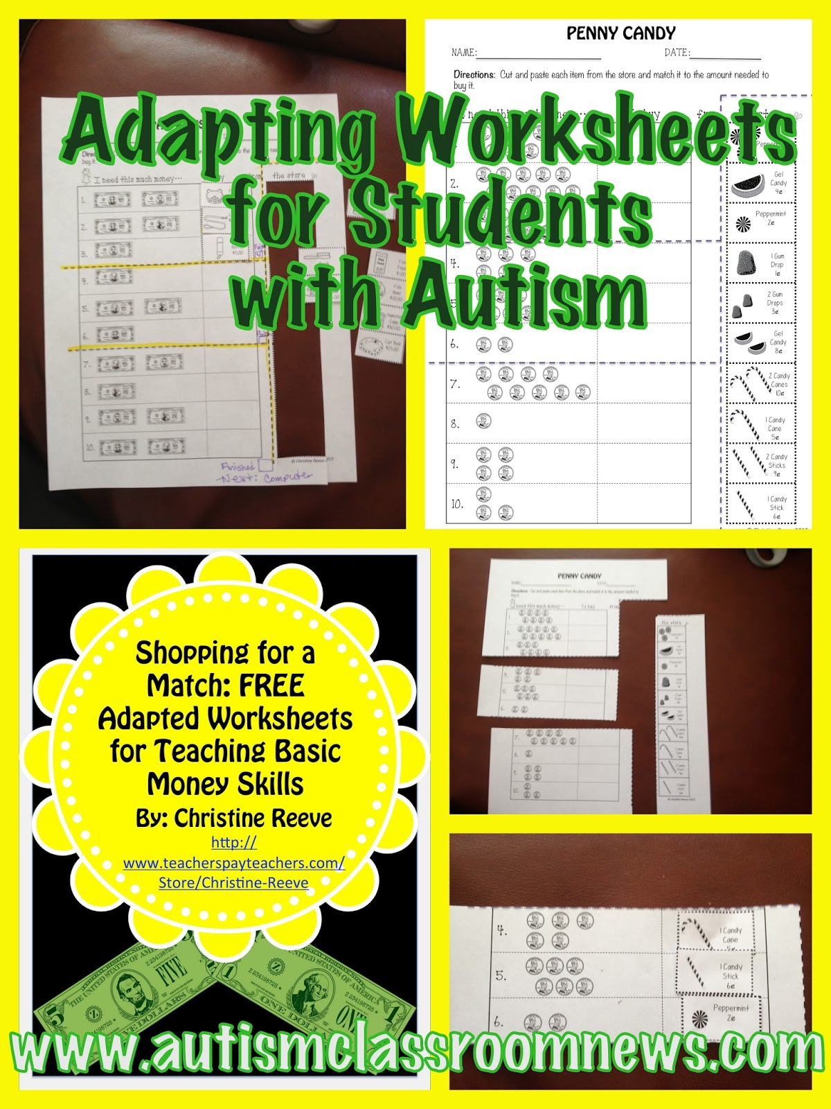 Freebie Adapting Worksheets For Students With Autism