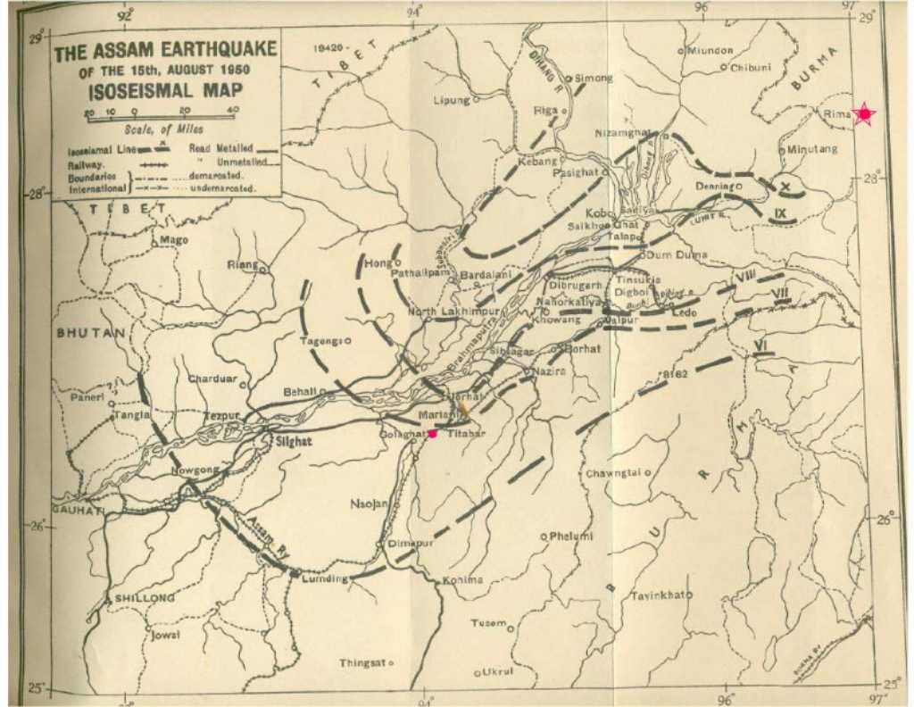 Map: 1950 Assam earthquake