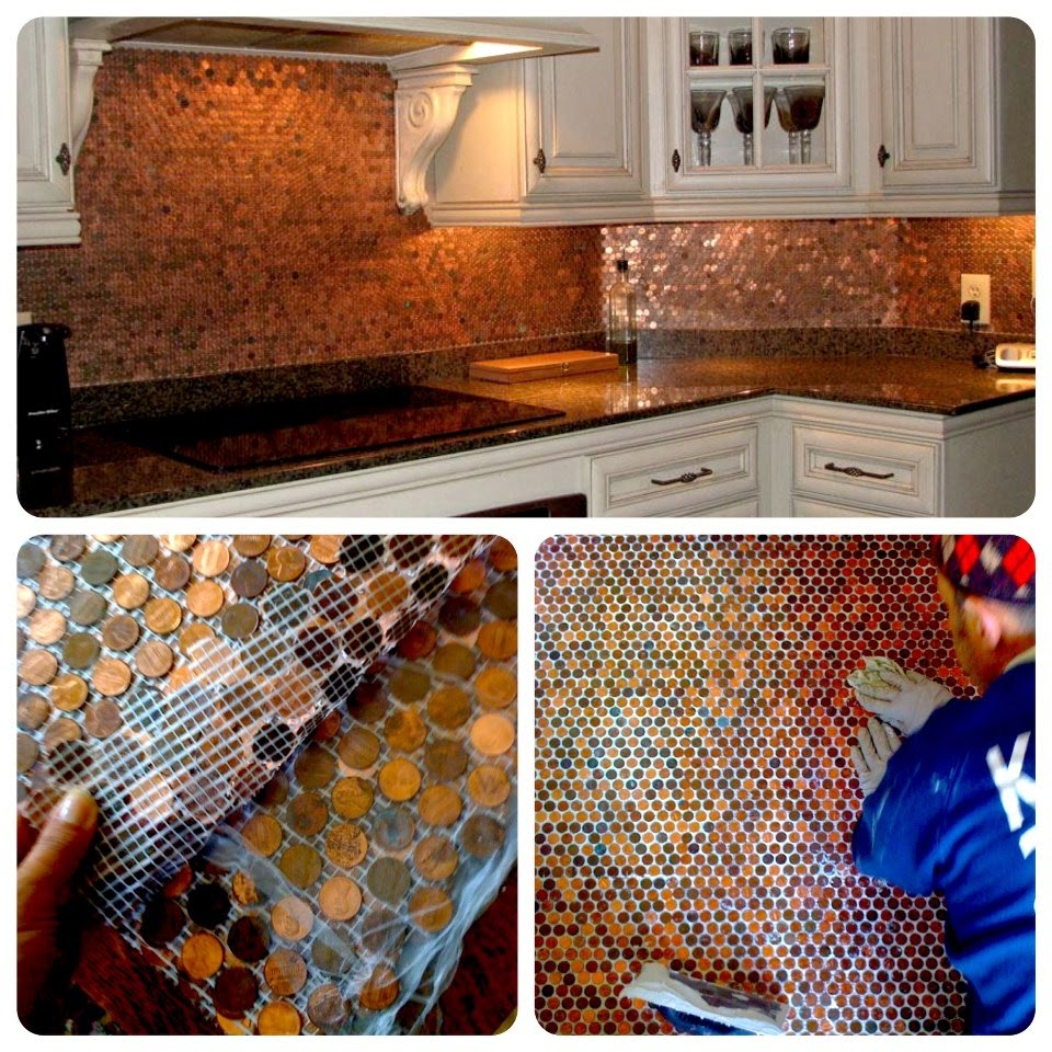 Make A Penny Backsplash For An Expensive Look
