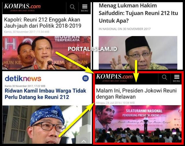 Kenapa Reuni 212 Dipermasalahkan, Sedang Reuni Relawan Jokowi tak Dipersoalkan?  In Nasional