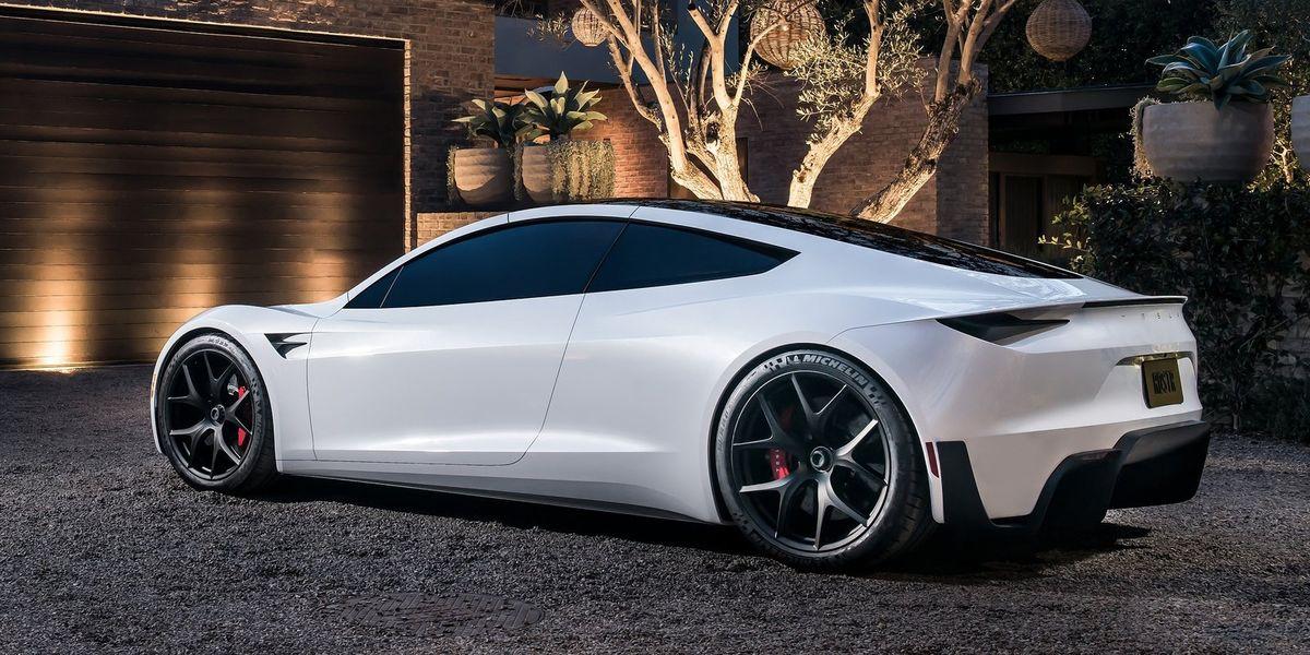 Tesla roadster color blanco