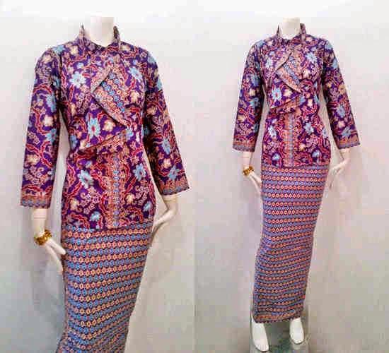 Contoh Baju Batik Guru: Model Baju Batik Pramugari Motif Mawar