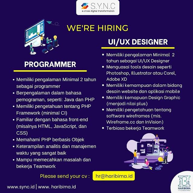 Lowongan Kerja Programmer dan UI UX Designer