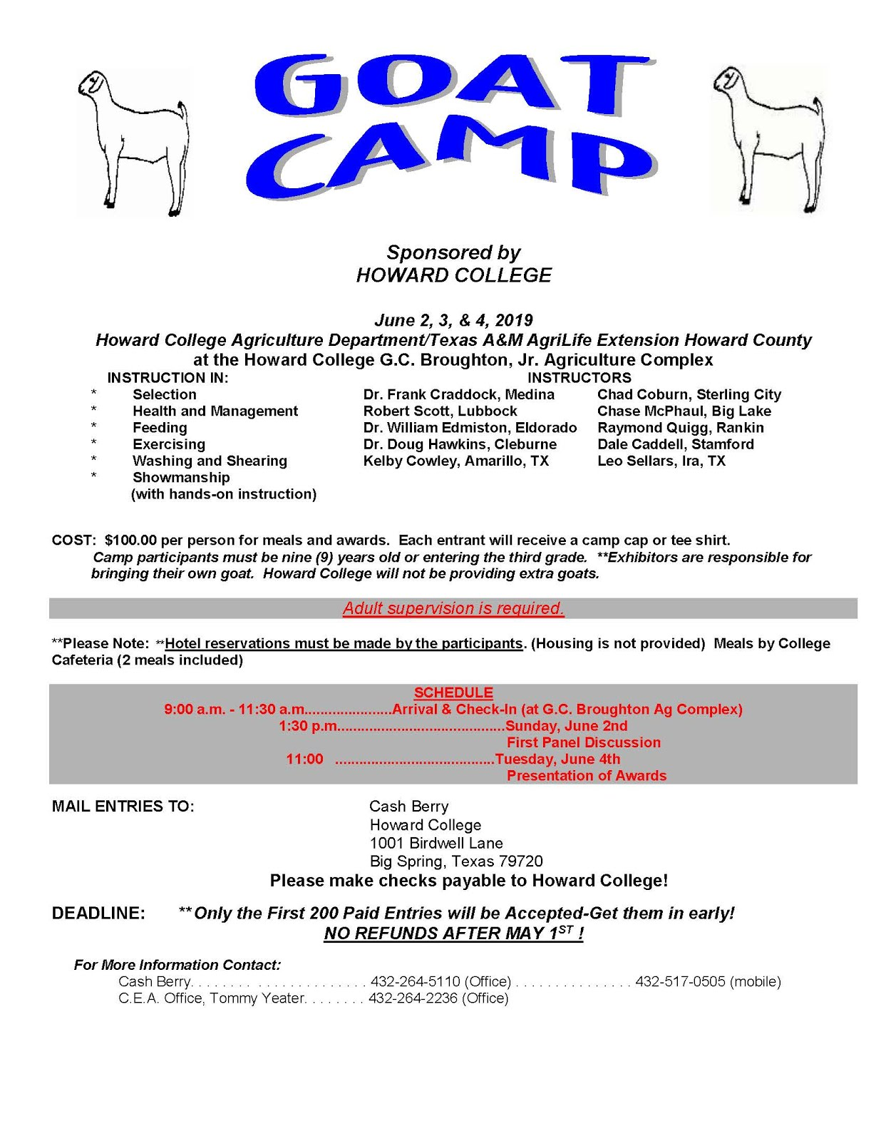 Comal County 4-H Online News: Goat Camp - June 2-4