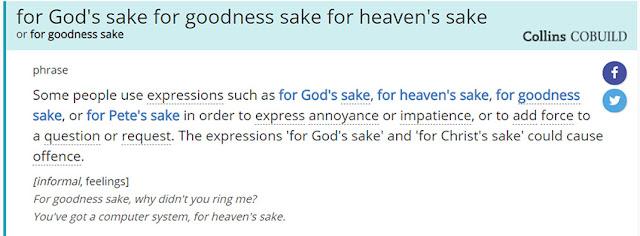 Arti For God's Sake Menurut Kamus