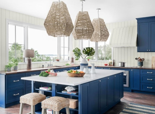 Navy Blue Painted Kitchen Cabinets