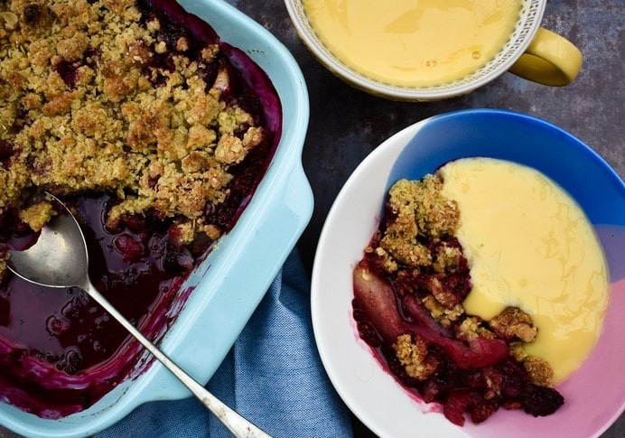 Scottish Blackberry & Pear Crisp served up with custard
