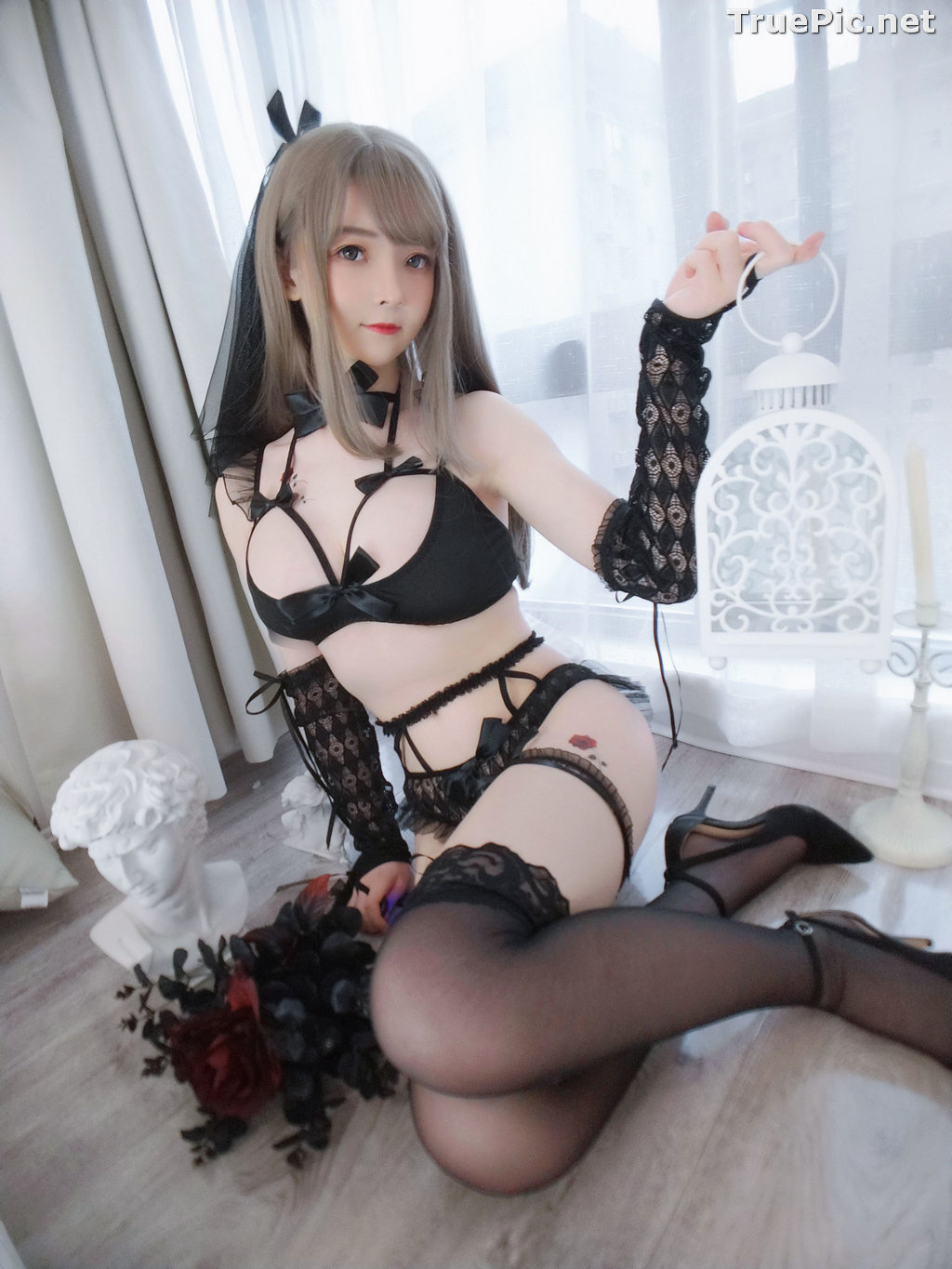 Image Chinese Model - 一小央泽 (Yixiaoyangze) - Sexy Black Rose - TruePic.net - Picture-12