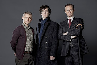 Martin Freeman, Benedict Cumberbatch and Mark Gatiss in BBC Sherlock