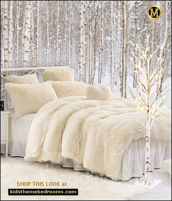 birch tree lighted tree winter wonderland bedroom decor winter bedroom ideas