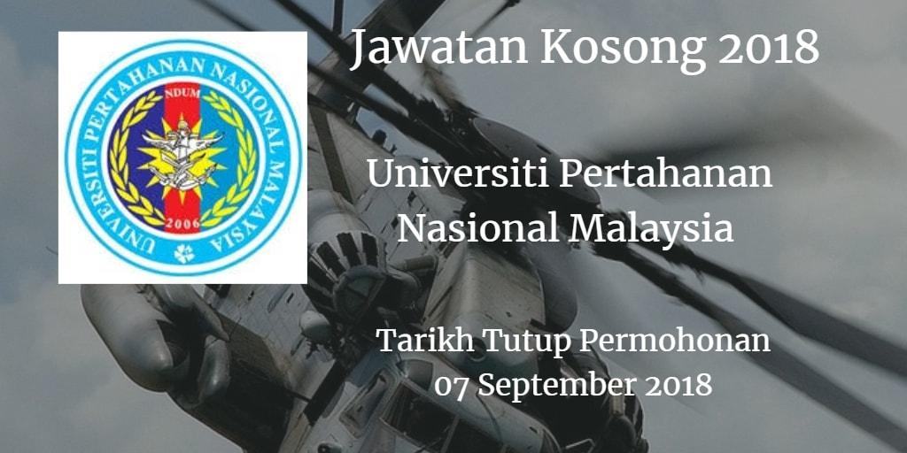 Jawatan Kosong UPNM 07 September 2018