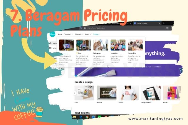 membuat infografis blog di canva tersedia beragam pricing plans