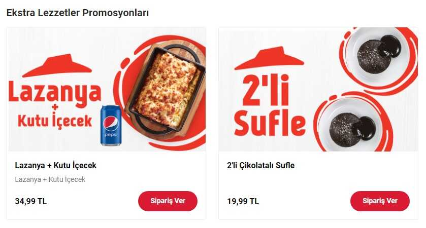 pizza hut lazanya siparişi
