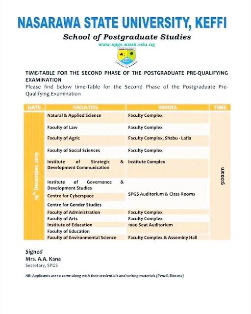 NSUK Postgraduate Qualifying Exam Timetable 2019/2020 [2nd Phase]