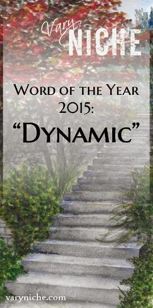 "VaryNiche.com 2015 Word of the Year: ""Dynamic"". Text over a watercolor painting by Shari Monner called ""Summer Steps"""