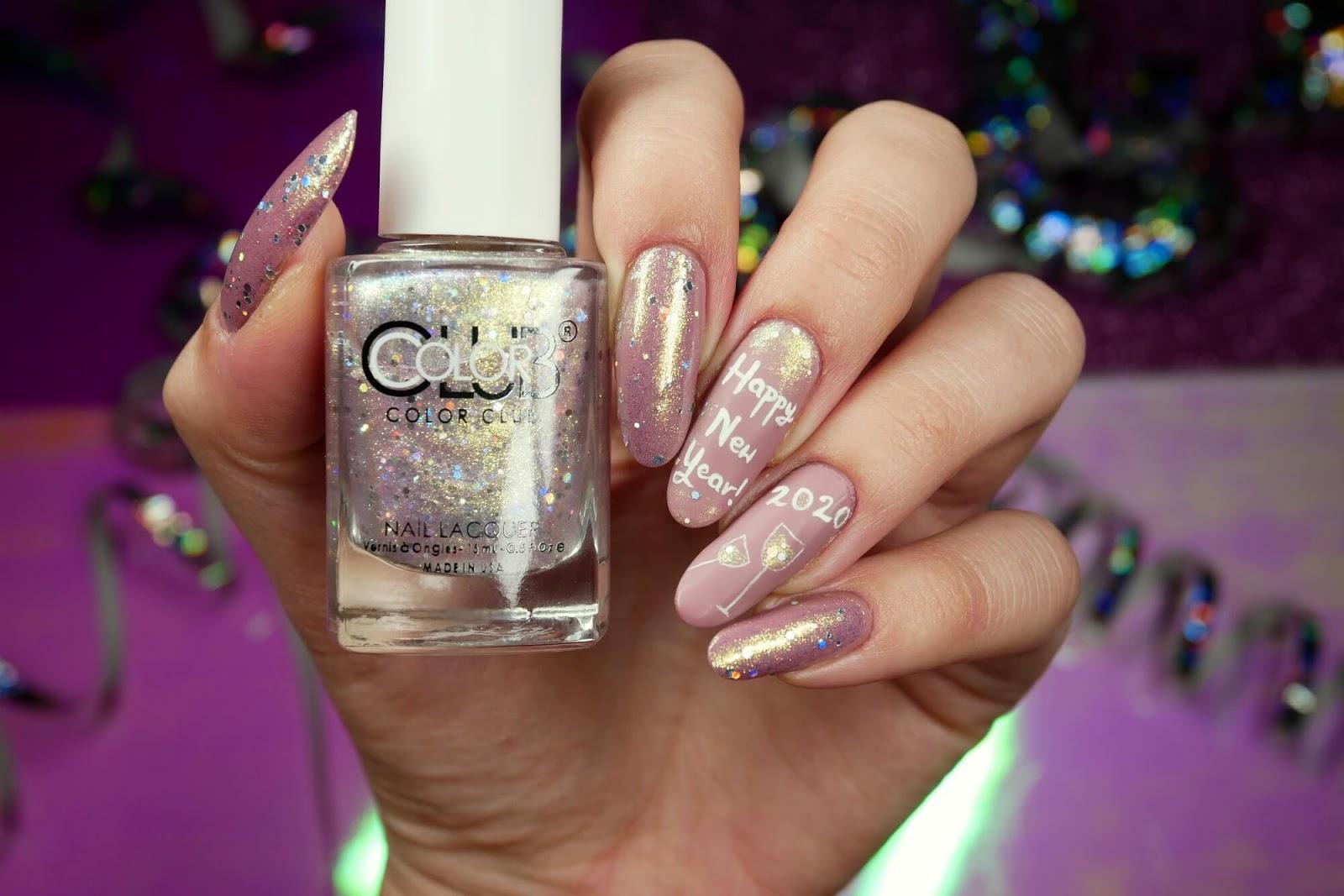 noworoczne wzorki na paznokcie