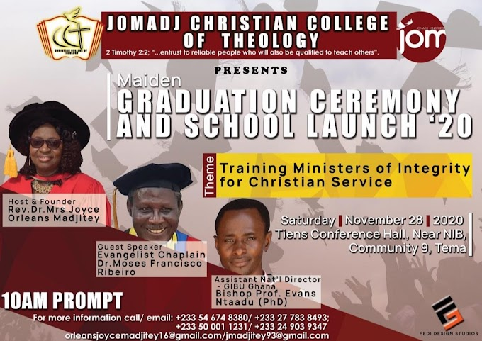 Jomadj Christian College of Theology Maiden Graduation Ceremony & School Launch comes off 28th November 2020