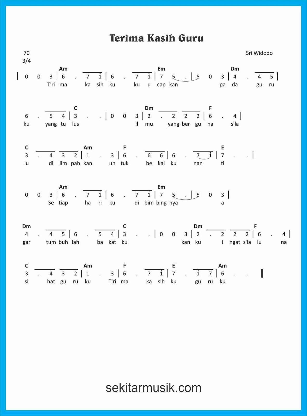 Lagu Terima Kasih Guruku : terima, kasih, guruku, Terima, Kasih, Guruku, Chord
