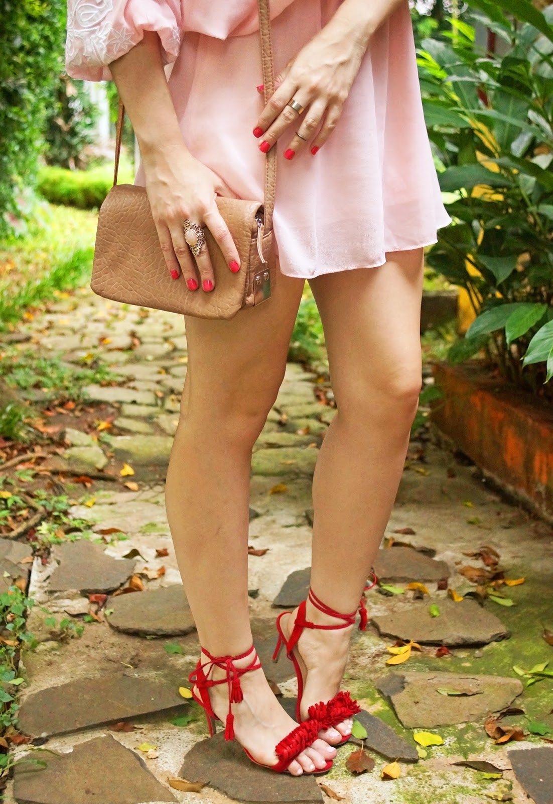 Loving these sexy red strappy heels!