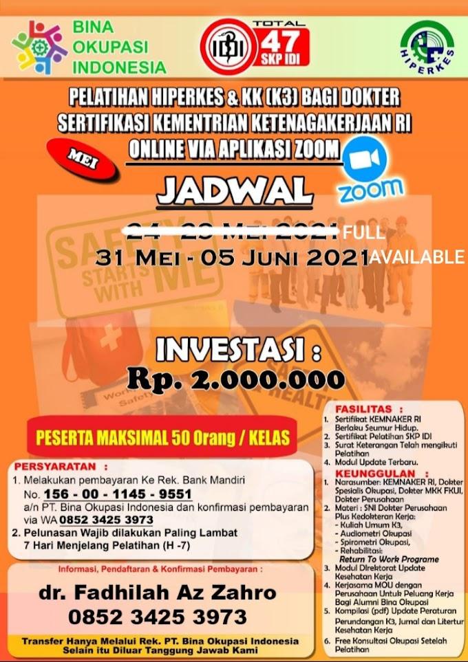 (MASIH BISA MENDAFTAR 30 Mei-5 Juni 2021)  Pelatihan Hiperkes Dokter 2021