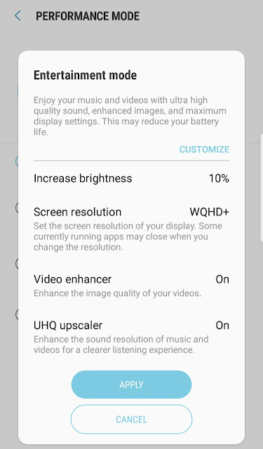 Enable Entertainment Mode on Samsung S8 for 4K videos