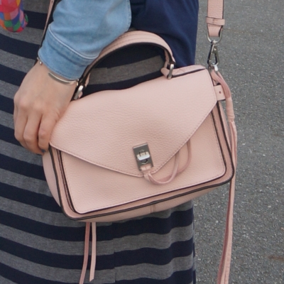 navy and grey striped maxi skirt with Rebecca Minkoff small Darren messenger bag in peony pink | away from the blue