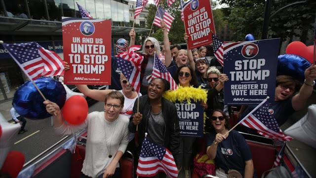 Activistas realizan en Londres una manifestación Stop Trump