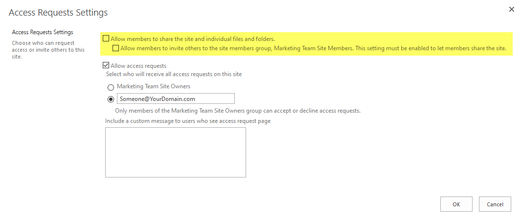 sharepoint online disable sharing for non-owners (members)