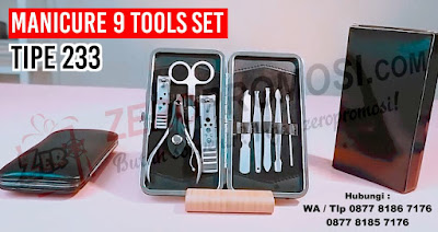 manicure Set 233#, Jual Alat Manicure isi 9 murah, Souvenir Manicure Set Murah, Peralatan Manicure isi 9, MANICURE SET 233 HITAM KULIT dengan harga termurah