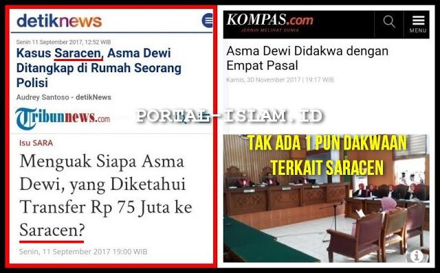 TERNYATA SARACEN HOAX! Sidang Pengadilan Asma Dewi Didakwa 4 Pasal Tak Ada Satupun Terkait Saracen