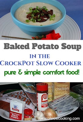 How to make Homemade from Scratch Baked Potato Soup in the CrockPot Slow Cooker. This is gluten free and serves 10 and is from ayearofslowcooking.com