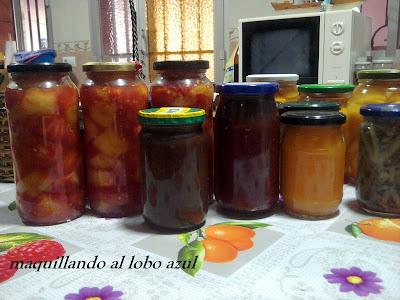 Conservas caseras de melocotón, tomates y albaricoques