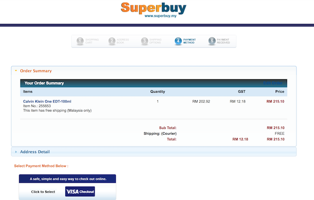 Step 2: Confirm the order, and click on Visa Checkout