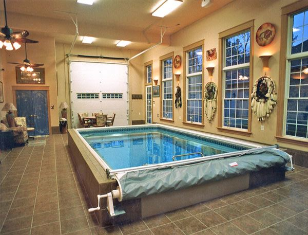 Man Cave with Native American artifacts and Endless Pools swimming machine