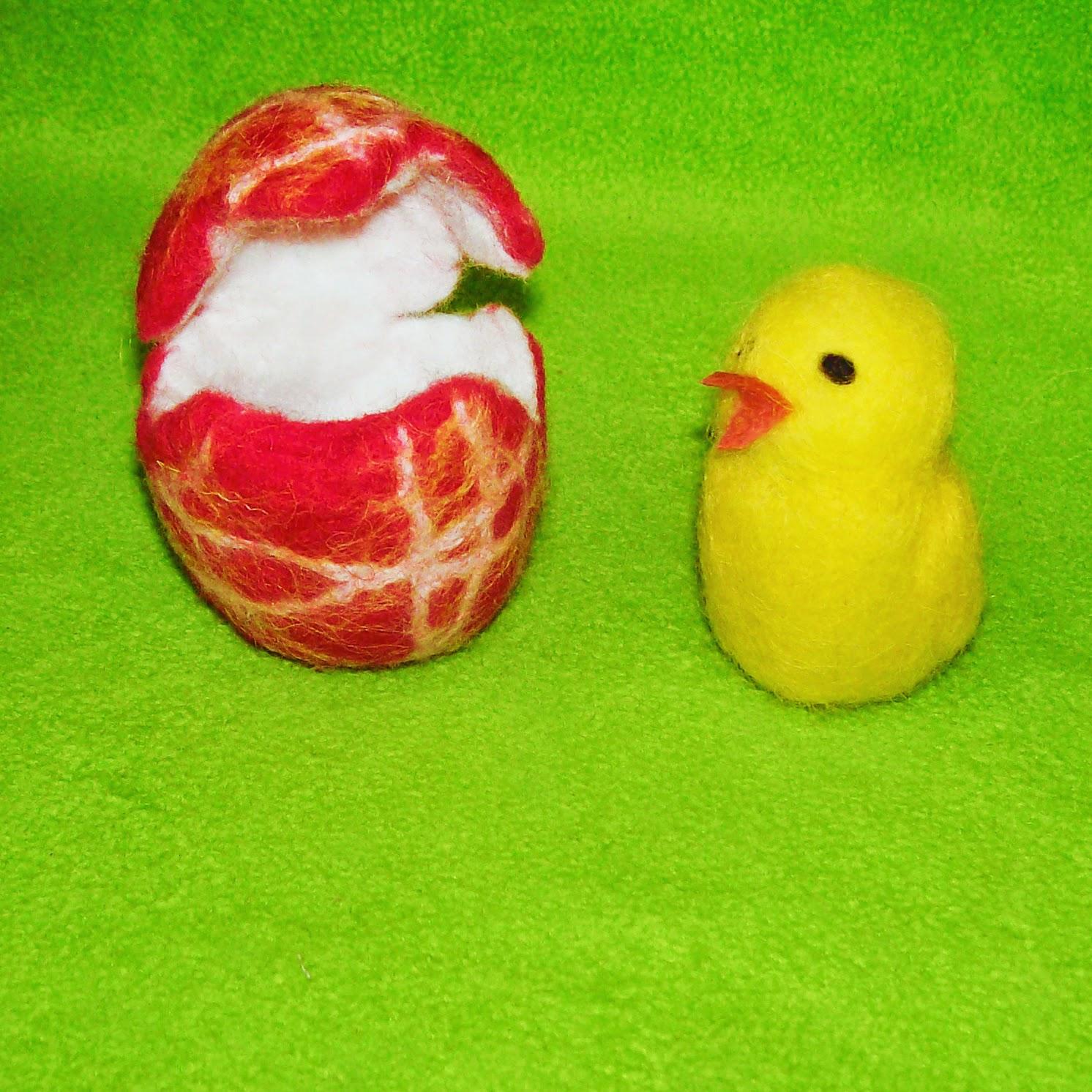 шерсть, валяние, цыплёнок в яйце