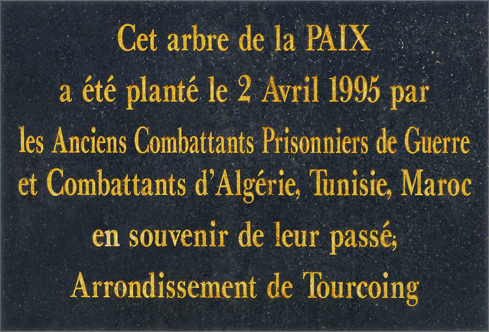 Plaque Commémorative de l'Arbre de la Paix
