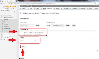 Bagaimana cara melakukan export Database SQL saya