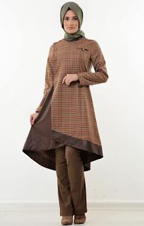 Baju muslim tunik trendy motif kotak-kotak