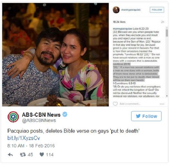 Manny Pacquiao posts, deletes Bible verse line for gays 'to be place to death'