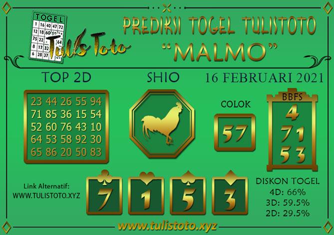 Prediksi Togel MALMO TULISTOTO 16 FEBRUARI 2021