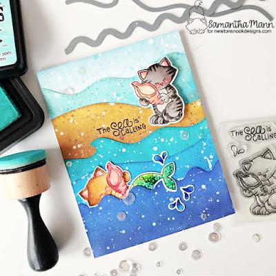 The Sea is Calling Card by Samantha Mann for Newton's Nook Designs, Ocean, Beach, Distress Inks, Ink Blending, Die Cuts, Handmade Cards, Card Making, #newtonsnook #newtonsnookdesigns #distressinks #inkblending #handmadecards #cardmaking #mirrorstamping