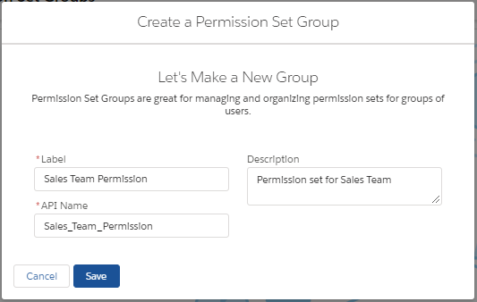 Creating a new Permission Set Group