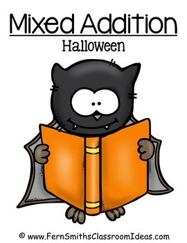 Halloween Quick and Easy to Prep Math Center Games for Mixed Addition Freebie