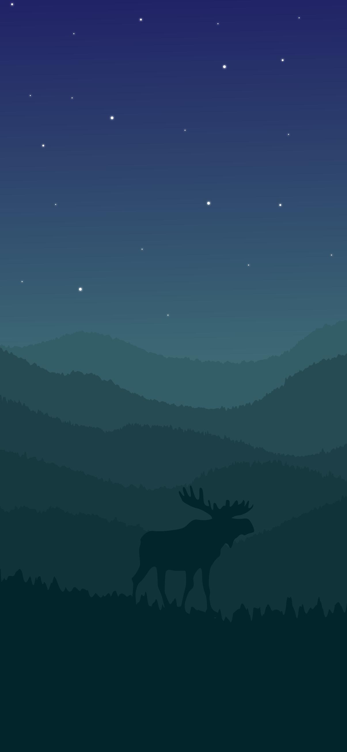 animal minimalist moose in the night wallpaper