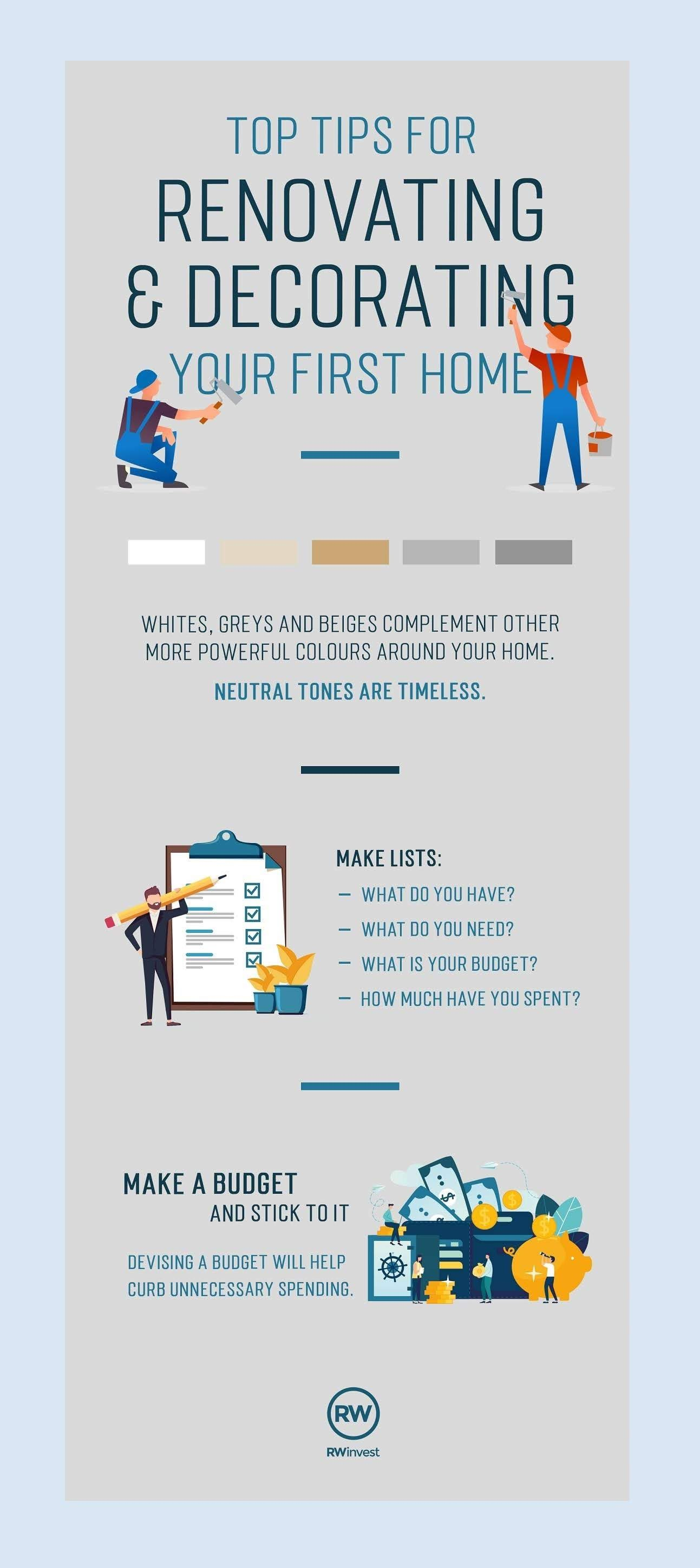 Tips For Renovating & Decorating Your First Home #infographic