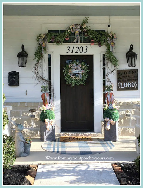 Spring Easter Front Porch-Grapevine garland-Topiaries-DIY-Wreath-From My Front Porch To Yours